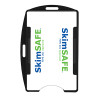 black SkimSAFE dual card RFID shielded card and badge holder with universal vertical and horizontal attachment points FIPS201 approved