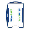 blue SkimSAFE dual card RFID shielded card and badge holder with universal vertical and horizontal attachment points FIPS201 approved