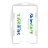 clear SkimSAFE dual card RFID shielded card and badge holder with universal vertical and horizontal attachment points FIPS201 approved
