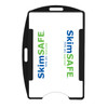 black SkimSAFE single card RFID shielded card and badge holder with universal vertical and horizontal attachment points FIPS201 approved