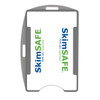 gray color SkimSAFE single card RFID shielded card and badge holder with universal vertical and horizontal attachment points FIPS201 approved