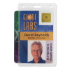 clear rigid hard plastic card holder holds up to three cards vertical orientation
