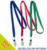 Fabric lanyard with spring loaded steel bulldog clip, 3/8 inch polyester material