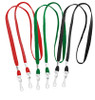 Fabric dual-hook open ended lanyard with two swivel hooks, 3/8 inch material