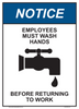 "notice employees must wash hands sign 10"" x 14"""