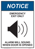 "notice emergency exit only alarm will sound sign 10"" x 14"""