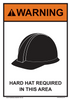 """warning hard hat required in this area sign 7"""" x 10"""""""