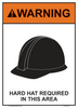 """warning hard hat required in this area sign 10"""" x 14"""""""