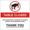 """table closed decal 8"""" square seat closed sticker"""