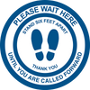 large 11 inch diameter floor decal sticker Please Wait Here message in English