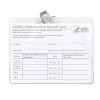 clear plastic 4x3 inch plastic holder with pin and clip protects CDC Vaccination Card