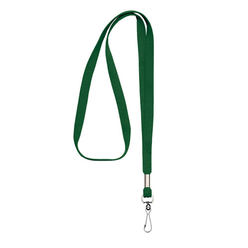 "green non-breakaway 3/8"" flat lanyard with steel swivel J hook"