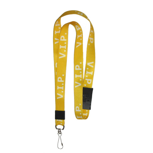 VIP printed yellow with white text lanyard includes safety breakaway and swivel J hook