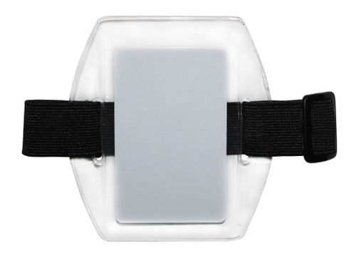 clear vinyl arm band badge holder with black elastic band with hook and loop closure, holds one credit-card sized badge