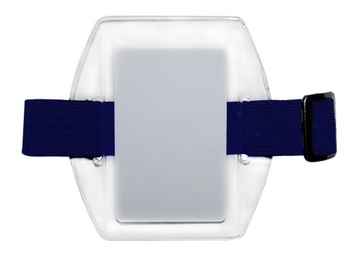 clear vinyl arm band badge holder with blue elastic band with hook and loop closure, holds one credit-card sized badge