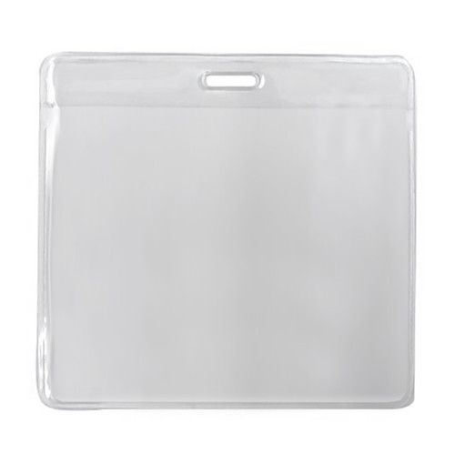 clear vinyl convention badge holder 3.625 x 3.125 inches with slot at top