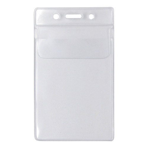 clear vinyl vertical badge and card holder with security flap at top with slot and chain holes