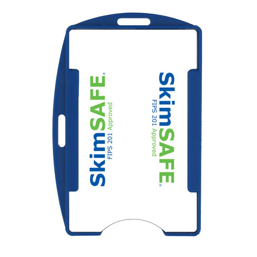 blue SkimSAFE single card RFID shielded card and badge holder with universal vertical and horizontal attachment points FIPS201 approved