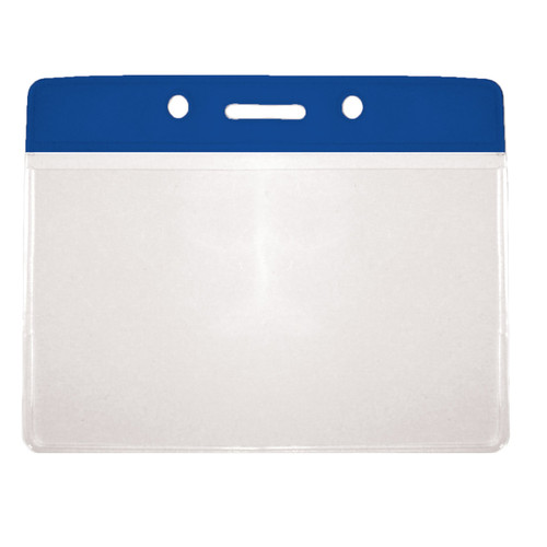 blue color top bar vinyl card holder with clear bottom and horizontal orientation with slot and chain holes