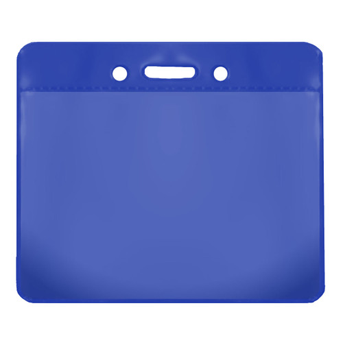 blue color back vinyl card holder with clear front and horizontal orientation with slot and chain holes