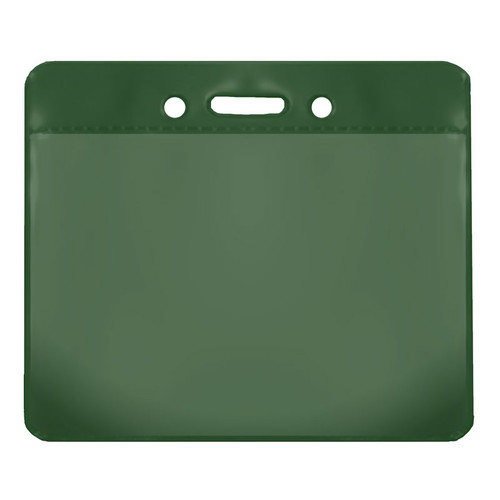 green color back vinyl card holder with clear front and horizontal orientation with slot and chain holes