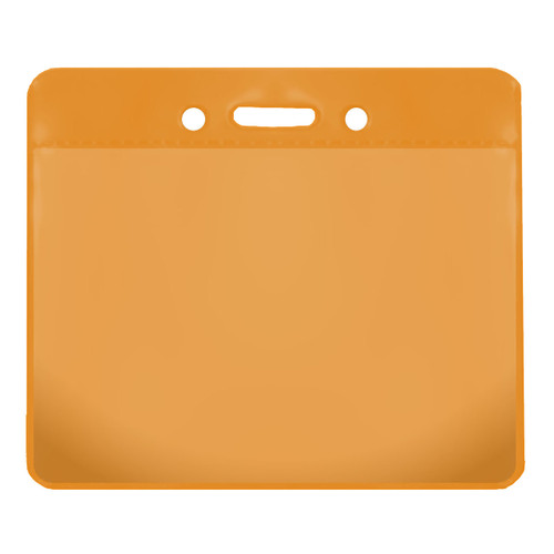 orange color back vinyl card holder with clear front and horizontal orientation with slot and chain holes