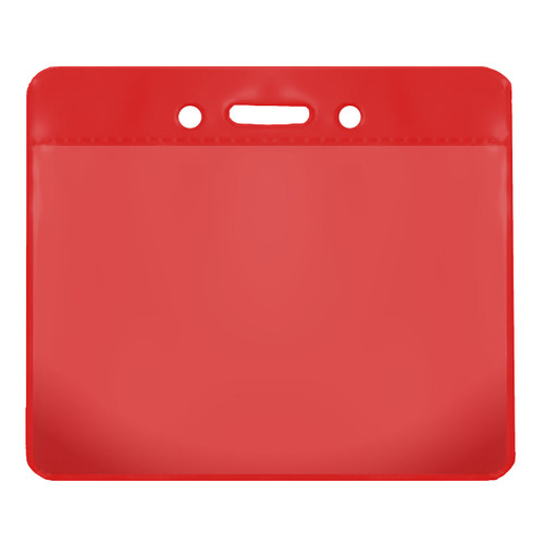 red color back vinyl card holder with clear front and horizontal orientation with slot and chain holes