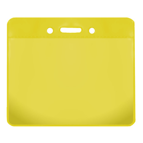 yellow color back vinyl card holder with clear front and horizontal orientation with slot and chain holes