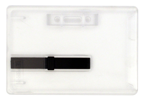 clear rigid hard plastic card dispenser or ejector holder with horizontal attachment point
