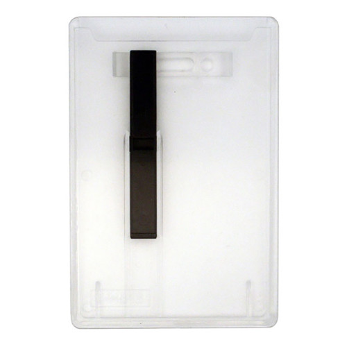 clear rigid hard plastic card dispenser or ejector holder with vertical attachment point