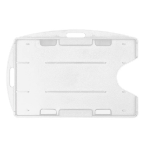 clear rigid hard plastic badge holder dual-cards with two attachment points vertical and horizontal