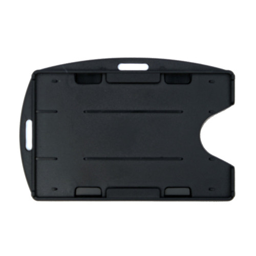 black rigid hard plastic badge holder dual-cards with two attachment points vertical and horizontal
