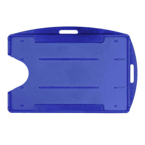 blue rigid hard plastic badge holder vertical or horizontal universal orientation two attachment points