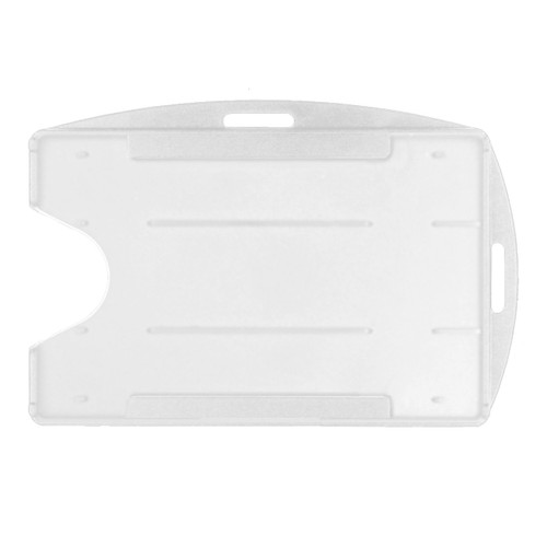 clear rigid hard plastic badge holder vertical or horizontal universal orientation two attachment points