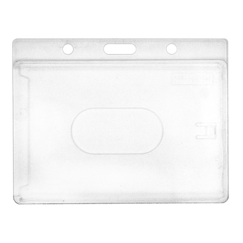 clear rigid hard plastic badge holder with slot and chain holes at top horizontal orientation