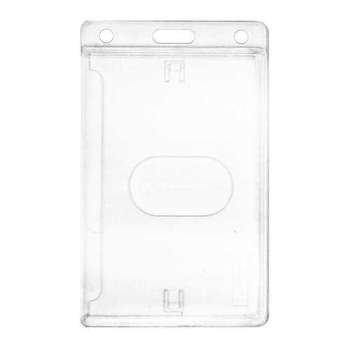 clear rigid hard plastic card holder with slot and chain holes at top holds single card vertical orientation