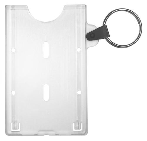 clear rigid hard plastic key ring badge holder