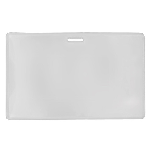clear heavy duty vinyl prox card holder with slot at top horizontal orientation