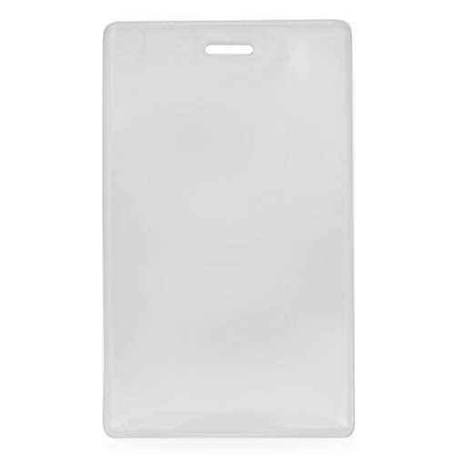 clear vinyl prox card holder with slot at top vertical orientation