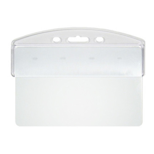 clear rigid hard plastic half card holder grips the top of a horizontal card. No slot punch required.