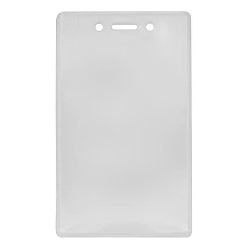 clear vinyl prox card holder with slot and chain holes at top