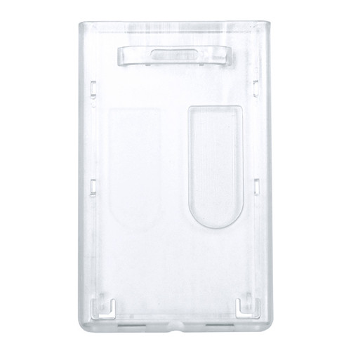 two-card dual sided hard rigid plastic card holder with tab attachment in back