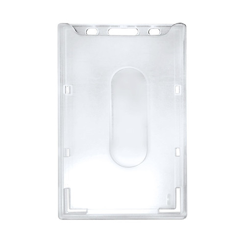 clear top loading hard rigid plastic badge holder with slot and chain holes