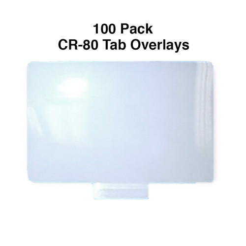 cr-80 pressure sensitive overlay with tab for id card