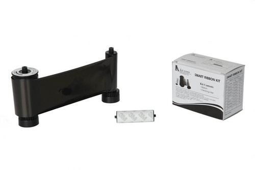 Ribbon - IDP Black Resin (K) W/Cleaning Roller - 1200 cards/roll