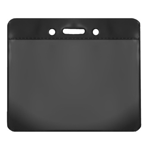 black color back vinyl card holder with clear front and horizontal orientation with slot and chain holes