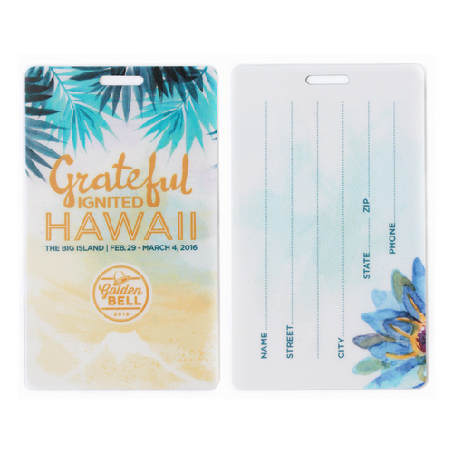 SLT Luggage tag printed front and back with writeable surface back