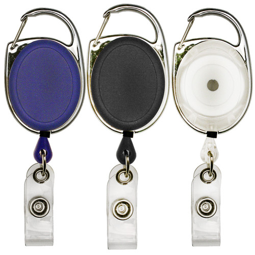 152069 oval carabiner badge reel retractor. Available in blue, black and clear.