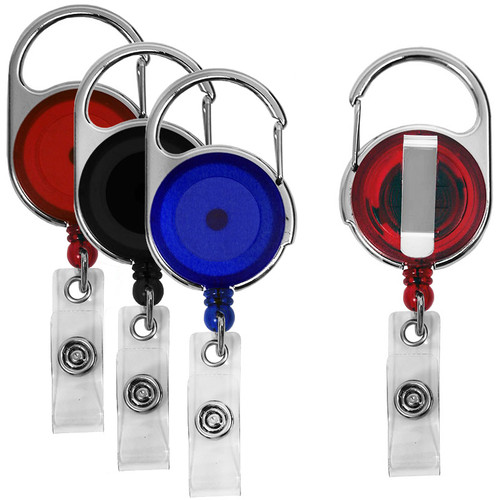 152058 carabiner dual clip retractable badge reel with swivel slide clip on back