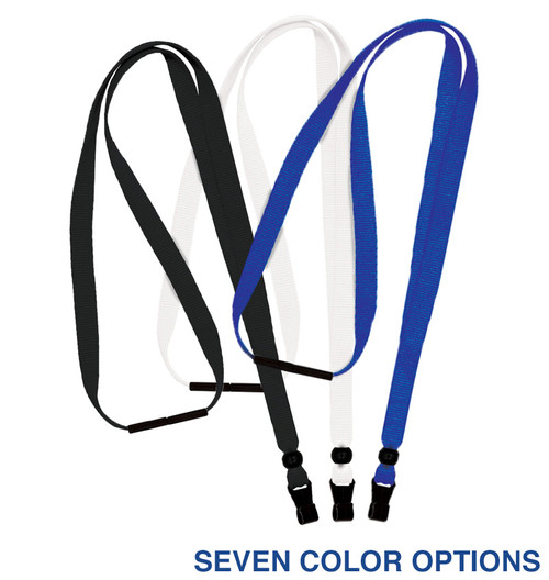 Fabric lanyard with no-twist plastic hook, No metal in construction, 3/8 inches wide, breakaway